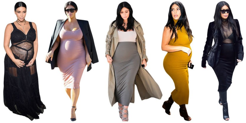 беременная Ким Кардашьян предпочитает обтягивающую одежду