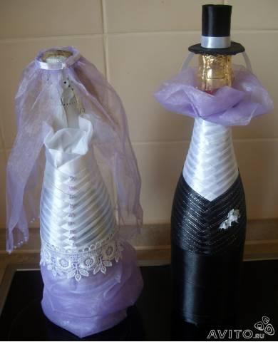 Дизайн бутылок шампанского на свадьбу