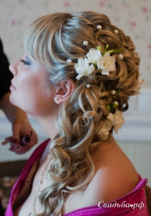 Свадьба прически фото на средний волос