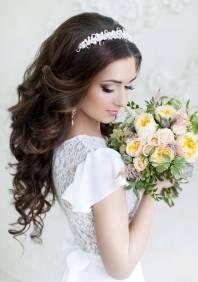 Свадебные прически с челкой - прямой, косой и с ...