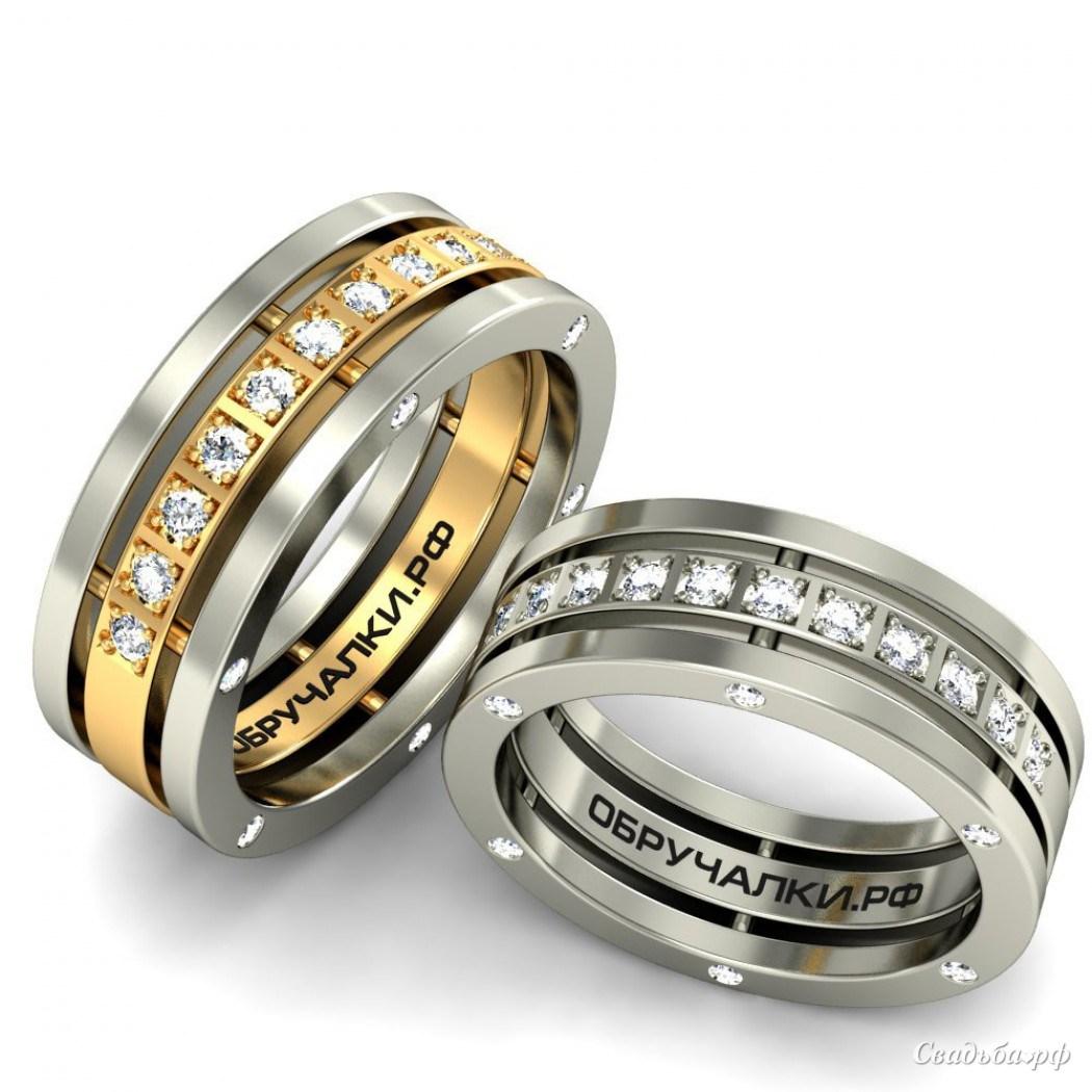 Модные обручальные кольца с бриллиантами