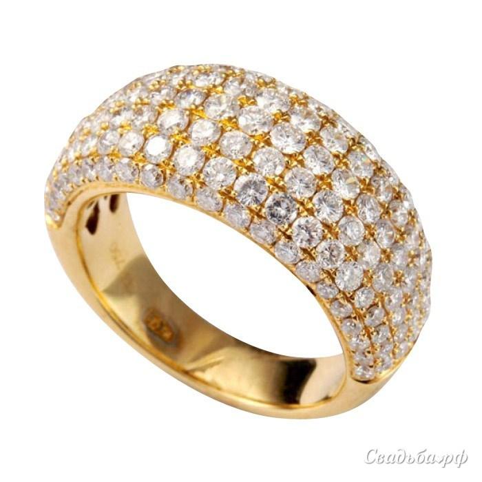Купить обручальное кольцо 16004-T155 (Италия, материал: желтое золото, с несколькими бриллиантами