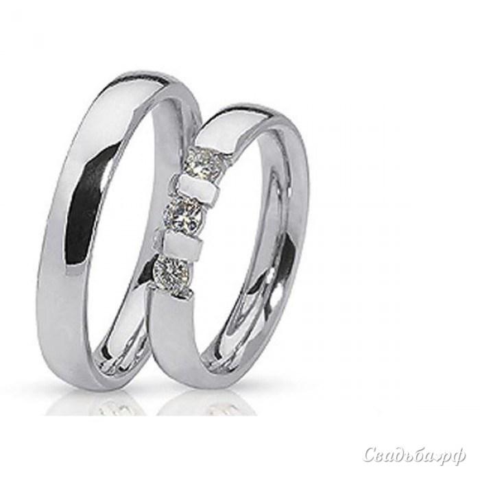 Купить Обручальные кольца парные с бриллиантами из белого золота 585 пробы, арт