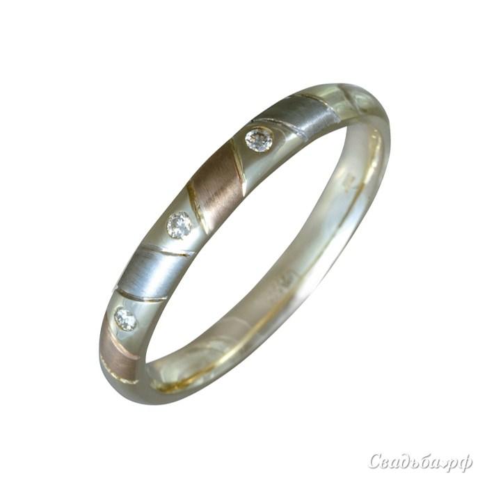 Купить обручальное кольцо 1103019-З081 (Италия, материал: комбинированное, с несколькими бриллиантами