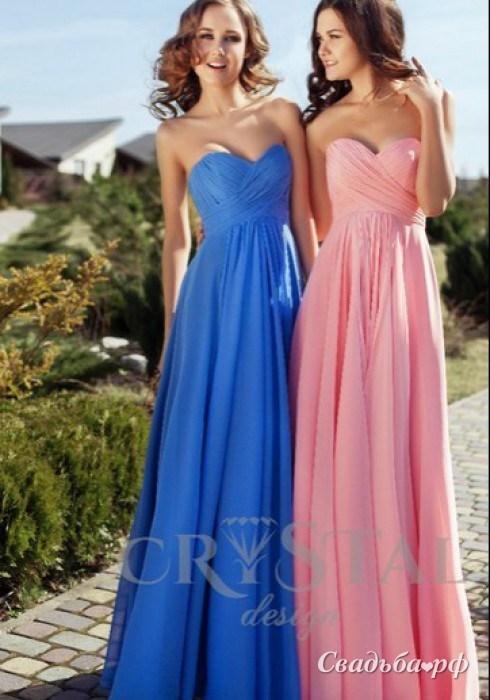 Купить вечернее платье Шифоновый переплет-М248 (Cristal Design, цвета: голубой, розовый и др., ткань: мультишифон